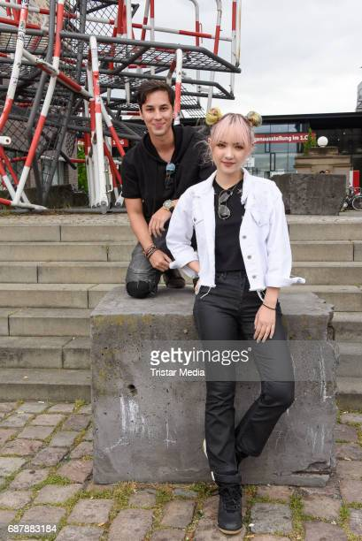 Producer Patrick Kronenberger and Jannine Weigel the new protege of Phill Hallenberger seen Berlin on May 24 2017 in Berlin Germany