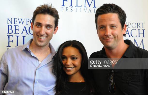 Producer Paul Alessi actress Danielle Nicloet and actor Ross McCall arrive for the premiere of the film 'Knuckle Draggers' at the Newport Beach Film...