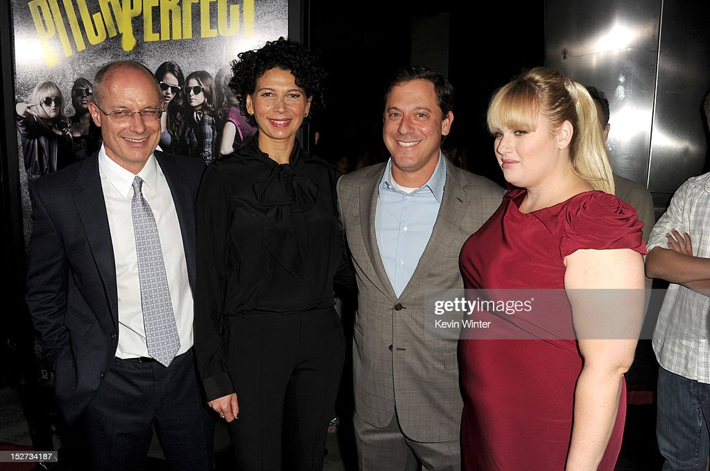 Producer <a gi-track='captionPersonalityLinkClicked' href=/galleries/search?phrase=Paul+Brooks&family=editorial&specificpeople=834448 ng-click='$event.stopPropagation()'>Paul Brooks</a>, Universal Pictures Co-chairman Donna Langley, Universal Pictures chairman <a gi-track='captionPersonalityLinkClicked' href=/galleries/search?phrase=Adam+Fogelson&family=editorial&specificpeople=834470 ng-click='$event.stopPropagation()'>Adam Fogelson</a>, and actress <a gi-track='captionPersonalityLinkClicked' href=/galleries/search?phrase=Rebel+Wilson&family=editorial&specificpeople=5563104 ng-click='$event.stopPropagation()'>Rebel Wilson</a> arrive at the premiere of Universal Pictures And Gold Circle Films' 'Pitch Perfect' at ArcLight Cinemas on September 24, 2012 in Hollywood, California.