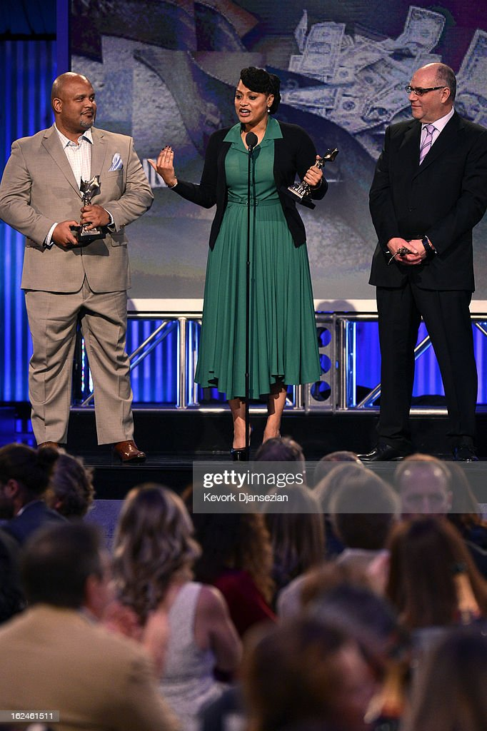 Producer Paul Garnes, writer/director Ava DuVernay and producer Howard Barish accept the John Cassavetes Award for 'Middle of Nowhere' onstage during the 2013 Film Independent Spirit Awards at Santa Monica Beach on February 23, 2013 in Santa Monica, California.