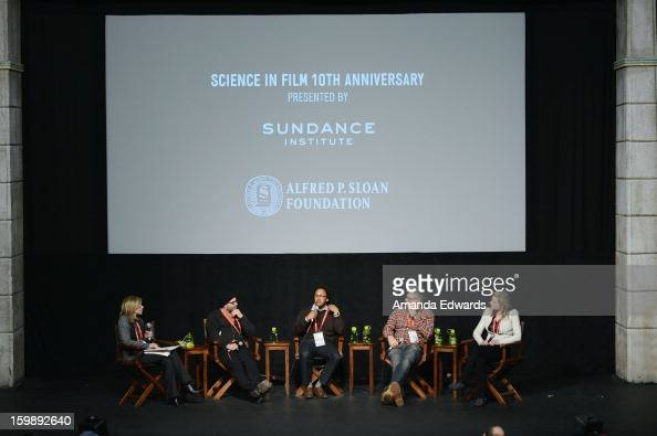 Producer Paula Apsell filmmaker Scott Z Burns neuroscientist Andre Fenton director Jon Amiel and physicist Lisa Randall attend the Once Upon A...