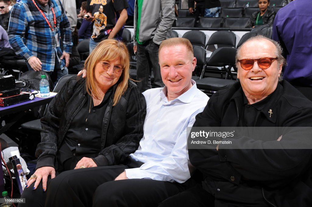 Producer Penny Marshall, former NBA player Chris Mullen,and Actor Jack Nicholson pose for a photograph at Staples Center on January 15, 2013 in Los Angeles, California.