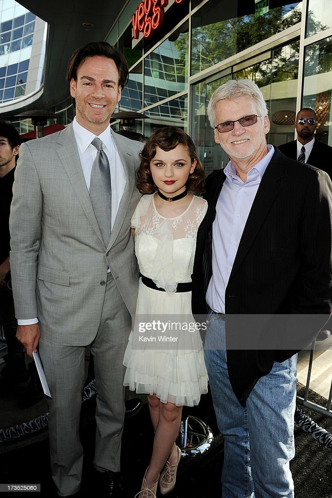 Producer Peter Safran, actress <a gi-track='captionPersonalityLinkClicked' href=/galleries/search?phrase=Joey+King+-+Actress&family=editorial&specificpeople=2264584 ng-click='$event.stopPropagation()'>Joey King</a> and producer Rob Cowan arrive at the premiere of Warner Bros. 'The Conjuring' at the Cinerama Dome on July 15, 2013 in Los Angeles, California.