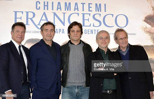 Producer Pietro Valsecchi actor Rodrigo de la Serna director Daniele Luchetti and actor Sergio Hernandez attend a photocall for 'Call Me Francesco'...