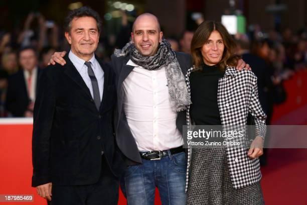 Producer Pietro Valsecchi Checco Zalone and Camilla Nesbitt attend the 'Checco Zalone' Premiere during The 8th Rome Film Festival at Auditorium Parco...