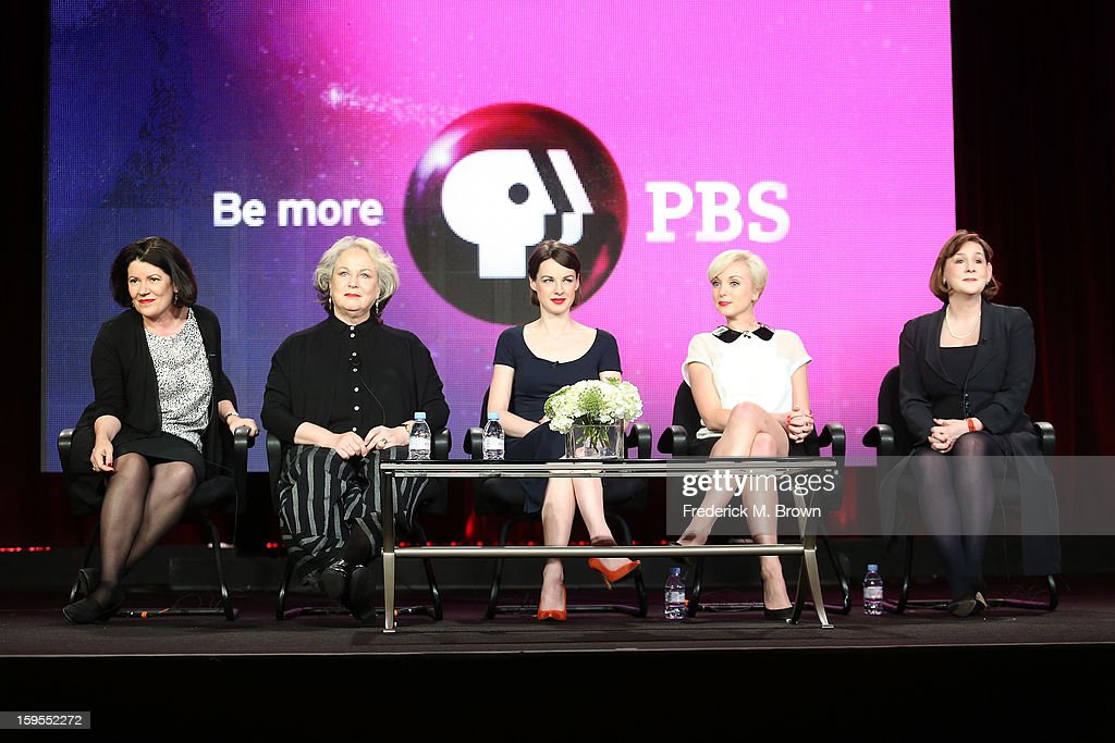 Producer Pippa Harris, actresses Pam Ferris, Jessica Raine, Helen George, and executive producer/writer Heidi Thomas speak onstage during the 'Call The Midwife' panel discussion during the PBS Portion- Day 2 of the 2013 Winter Television Critics Association Press Tour at Langham Hotel on January 15, 2013 in Pasadena, California.
