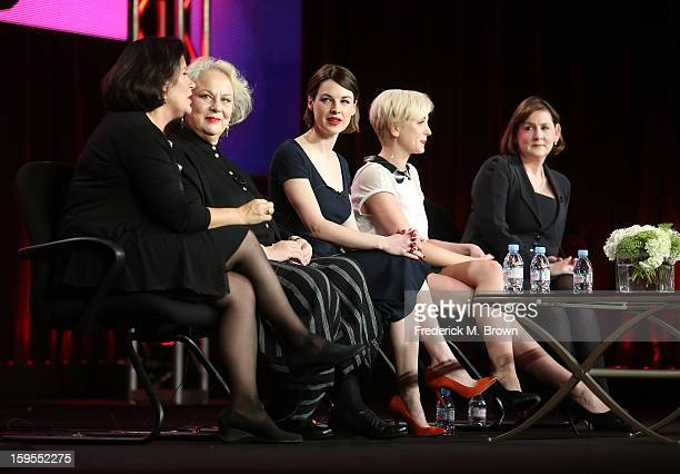 Producer Pippa Harris actresses Pam Ferris Jessica Raine Helen George and executive producer/writer Heidi Thomas speak onstage during the 'Call The...
