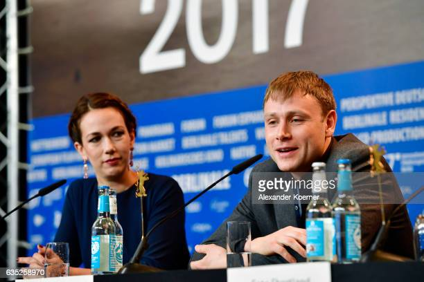 Producer Polly Staniford and Actor Max Riemelt attend the 'Berlin Syndrom' press conference during the 67th Berlinale International Film Festival...