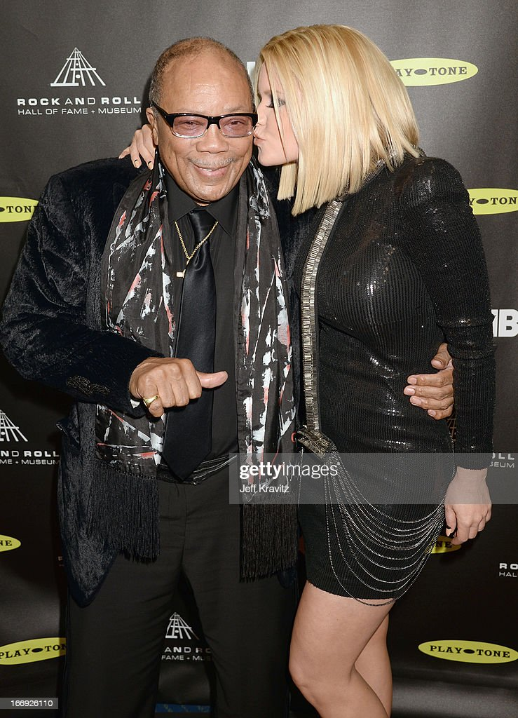 Producer Quincy Jones and Carrie Keagan arrive at the 28th Annual Rock and Roll Hall of Fame Induction Ceremony at Nokia Theatre L.A. Live on April 18, 2013 in Los Angeles, California.