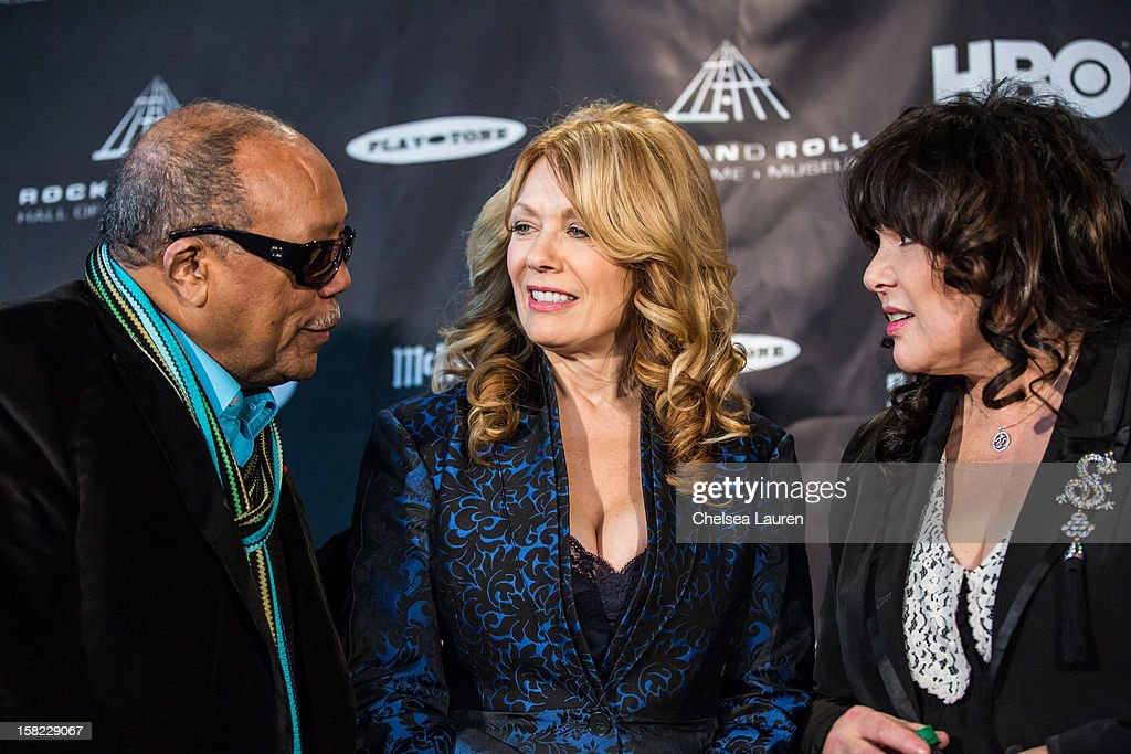 Producer <a gi-track='captionPersonalityLinkClicked' href=/galleries/search?phrase=Quincy+Jones&family=editorial&specificpeople=171797 ng-click='$event.stopPropagation()'>Quincy Jones</a>, musician Nancy Wilson and musician Ann Wilson attend the Rock & Roll Hall of Fame 2013 Inductee Press Conference at Nokia Theatre L.A. Live on December 11, 2012 in Los Angeles, California.