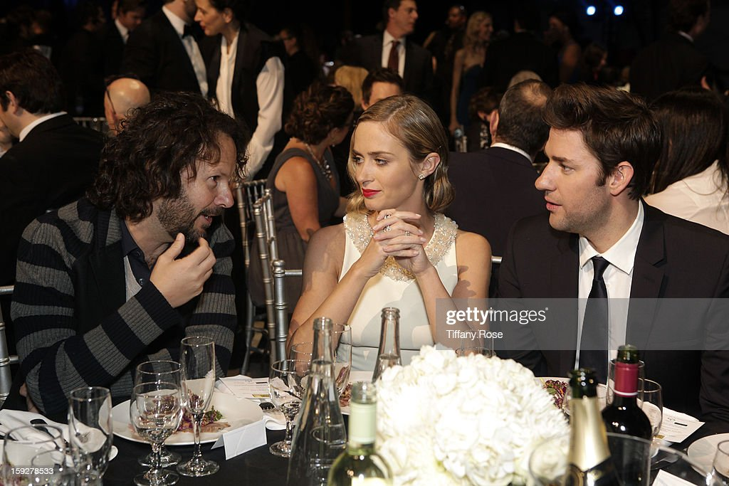 Producer Ram Bergman, actress Emily Blunt and actor John Krasinski attend the Critics' Choice Movie Awards 2013 with Champagne Nicolas Feuillatte at Barkar Hangar on January 10, 2013 in Santa Monica, California.