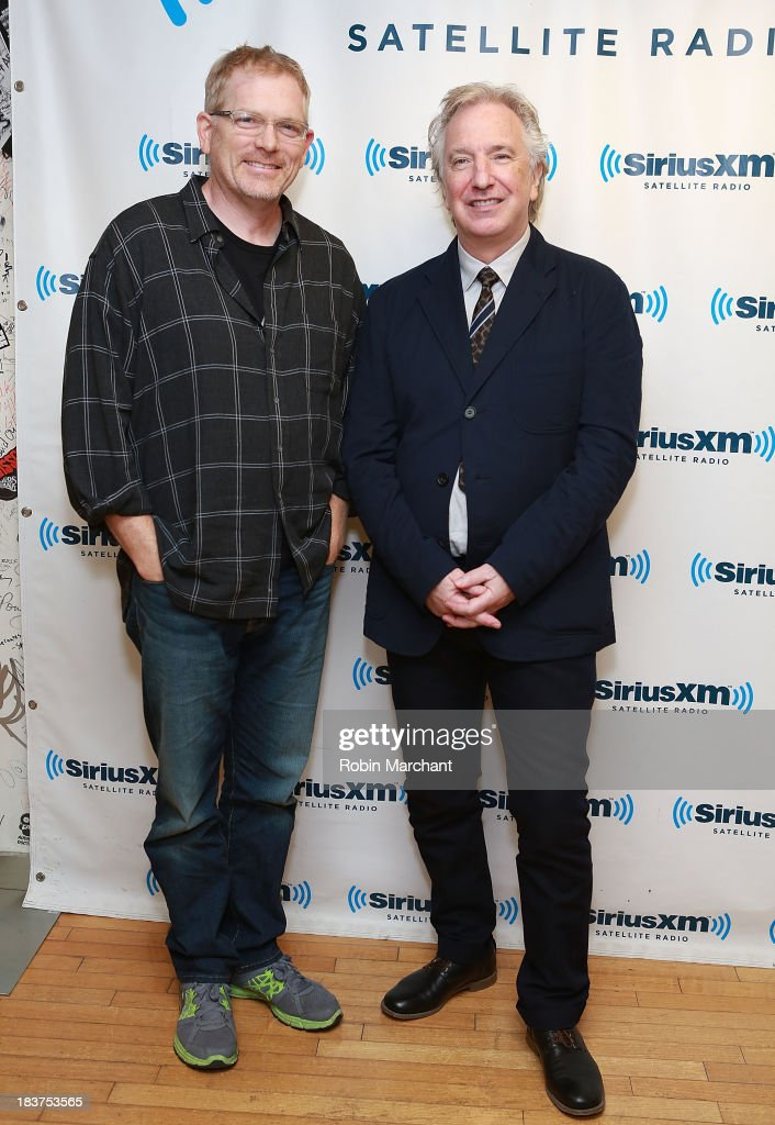 Producer Randall Miller (L) and actor <a gi-track='captionPersonalityLinkClicked' href=/galleries/search?phrase=Alan+Rickman&family=editorial&specificpeople=213254 ng-click='$event.stopPropagation()'>Alan Rickman</a> visit at SiriusXM Studios on October 9, 2013 in New York City.