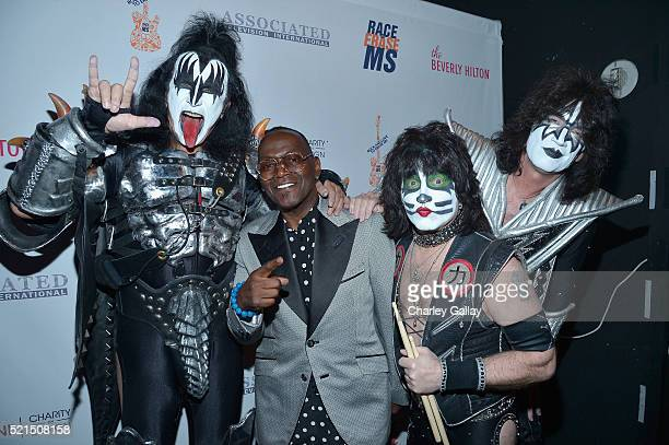 Producer Randy Jackson with musicians Gene Simmons Eric Singer and Tommy Thayer of KISS attend the 23rd Annual Race To Erase MS Gala at The Beverly...