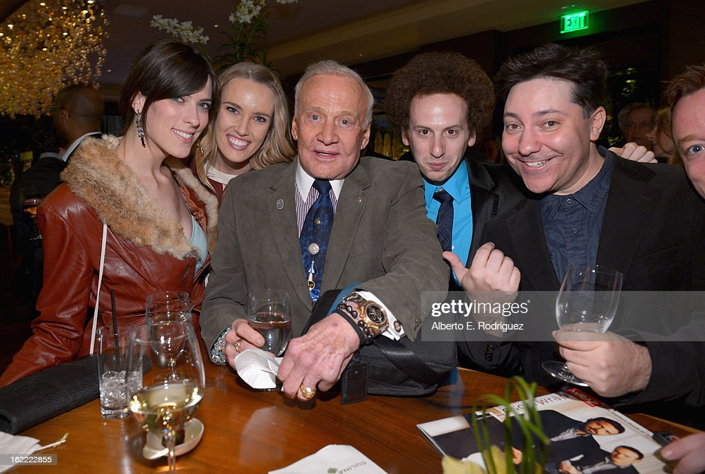Producer Rebecca Thomas, actress Cassidy Gard, astronaut Buzz Aldrin, actors Josh Sussman and Chris Bergoch attend TheWrap 4th Annual Pre-Oscar Party at Four Seasons Hotel Los Angeles at Beverly Hills on February 20, 2013 in Beverly Hills, California.