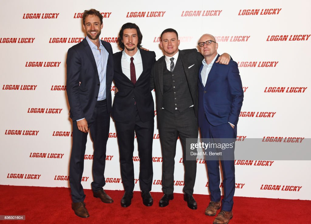 Producer Reid Carolin, Adam Driver, Channing Tatum and director Steven Soderbergh attend the 'Logan Lucky' UK Premiere at Vue West End on August 21, 2017 in London, England.