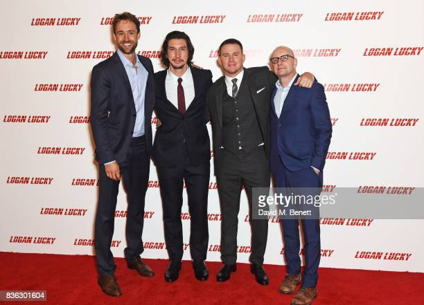 Producer Reid Carolin Adam Driver Channing Tatum and director Steven Soderbergh attend the 'Logan Lucky' UK Premiere at Vue West End on August 21...