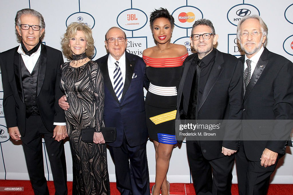 Producer Richard Perry, actress Jane Fonda, Sony Music Chief Creative Officer Clive Davis, recording artist/actress Jennifer Hudson, honoree Lucian Grainge and CEO/President of the National Academy of Recording Arts & Sciences Neil Portnow attend the 56th annual GRAMMY Awards Pre-GRAMMY Gala and Salute to Industry Icons honoring Lucian Grainge at The Beverly Hilton on January 25, 2014 in Beverly Hills, California.