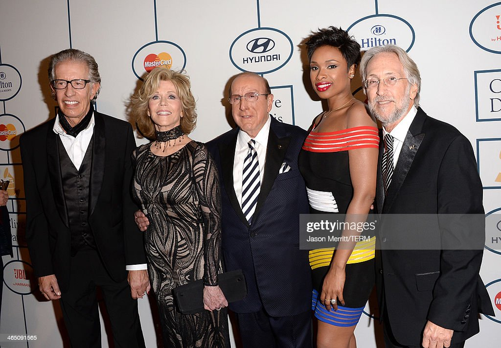 Producer Richard Perry, actress Jane Fonda, Sony Music Chief Creative Officer Clive Davis, singer/actress Jennifer Hudson, and Recording Academy President/CEO Neil Portnow attend the 56th annual GRAMMY Awards Pre-GRAMMY Gala and Salute to Industry Icons honoring Lucian Grainge at The Beverly Hilton on January 25, 2014 in Los Angeles, California.