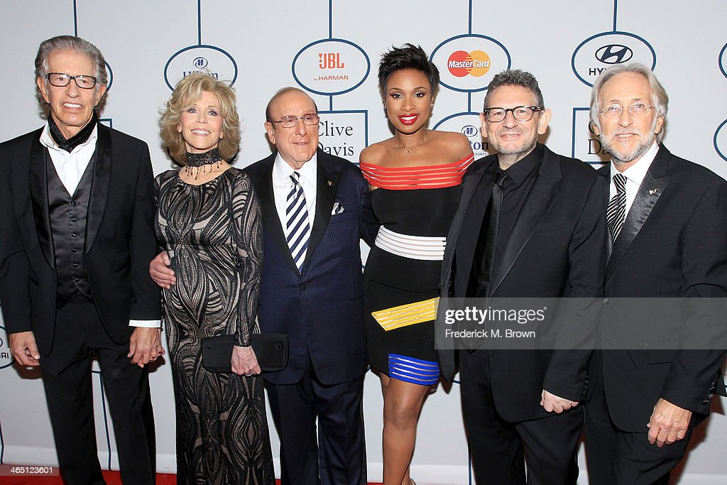 Producer Richard Perry, actress Jane Fonda, Sony Music Chief Creative Officer Clive Davis, singer/actress Jennifer Hudson, honoree Lucian Grainge, and Recording Academy President/CEO Neil Portnow attend the 56th annual GRAMMY Awards Pre-GRAMMY Gala and Salute to Industry Icons honoring Lucian Grainge at The Beverly Hilton on January 25, 2014 in Beverly Hills, California.