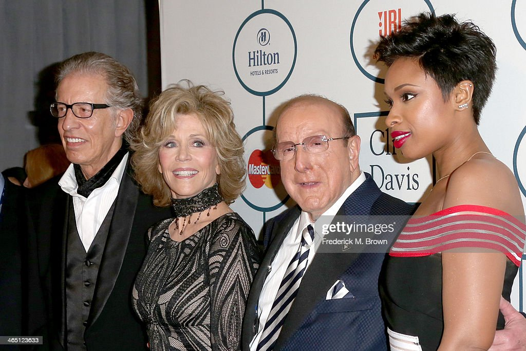 Producer Richard Perry, actress Jane Fonda, Sony Music Chief Creative Officer Clive Davis, and singer/actress Jennifer Hudson attend the 56th annual GRAMMY Awards Pre-GRAMMY Gala and Salute to Industry Icons honoring Lucian Grainge at The Beverly Hilton on January 25, 2014 in Beverly Hills, California.