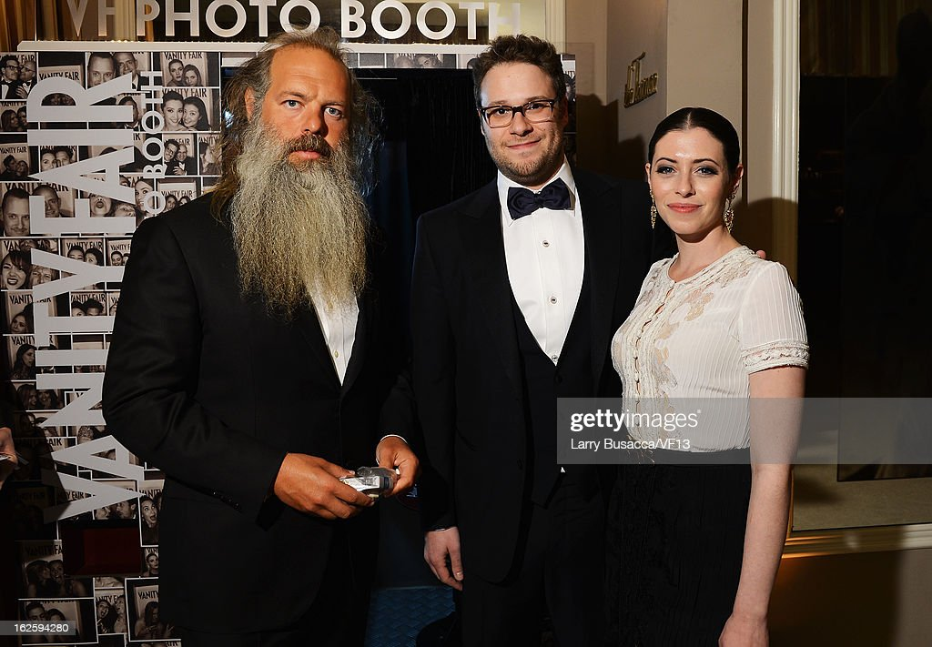 Producer Rick Rubin, actors Seth Rogen, and Lauren Miller attend the 2013 Vanity Fair Oscar Party hosted by Graydon Carter at Sunset Tower on February 24, 2013 in West Hollywood, California.