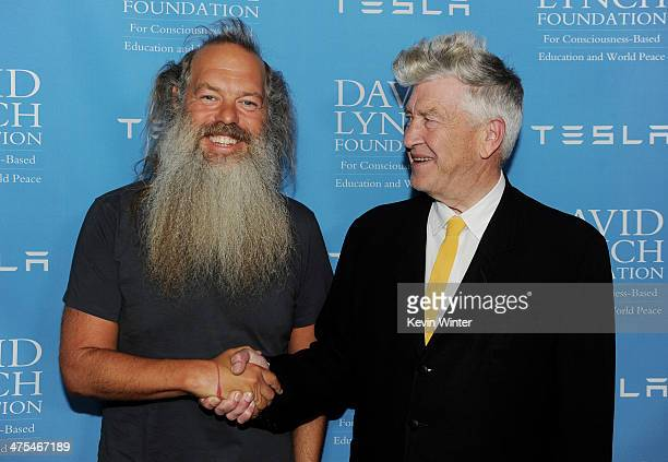 Producer Rick Rubin and director David Lynch pose at the David Lynch Foundation Gala Honoring Rick Rubin at the Beverly Wilshire Hotel on February 27...