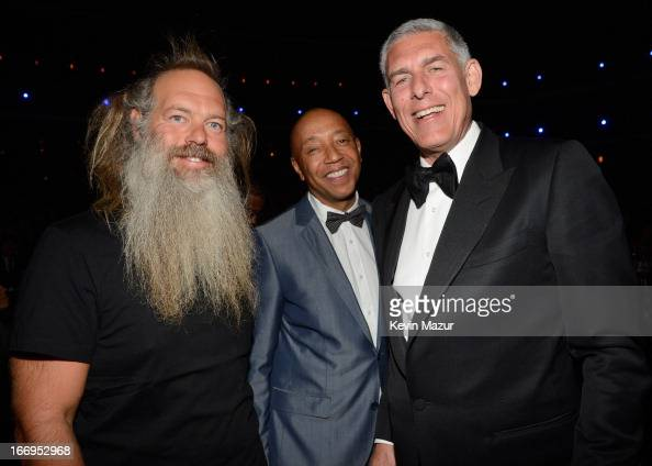 Producer Rick Rubin entrepreneur Russell Simmons and Lyor Cohen attend the 28th Annual Rock and Roll Hall of Fame Induction Ceremony at Nokia Theatre...