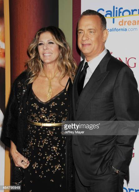 Producer Rita Wilson and actor Tom Hanks arrive at the 'Saving Mr Banks' Los Angeles Premiere at Walt Disney Studios on December 9 2013 in Burbank...
