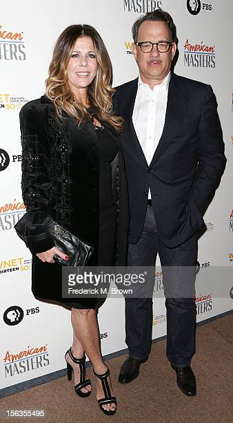Producer Rita Wilson and actor Tom Hanks attend the Premiere Of 'American Masters Inventing David Geffen' at The Writers Guild of America on November...