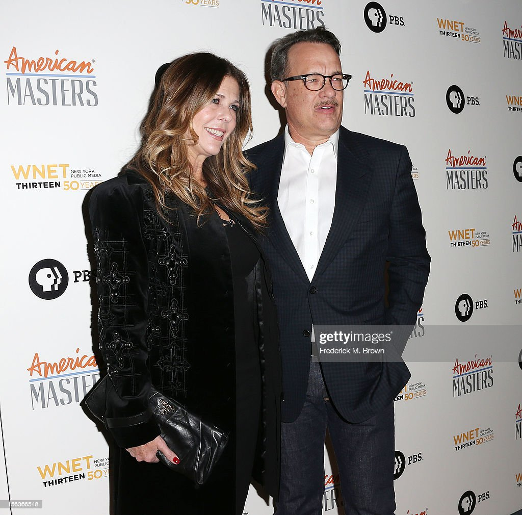 Producer Rita Wilson (L) and actor Tom Hanks attend the Premiere Of 'American Masters Inventing David Geffen' at The Writers Guild of America on November 13, 2012 in Beverly Hills, California.