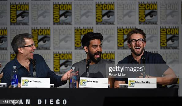 Producer Rob Thomas and actors Rahul Kohli and Robert Buckley attend the 'iZombie' special video presentation and QA during ComicCon International...