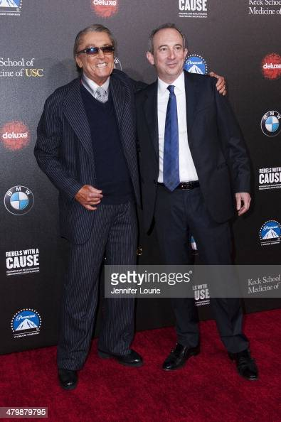 Producer Robert Evans and author David Agus attend the 2nd Annual Rebel With A Cause Gala hosted at the Paramount Studios on March 20 2014 in...