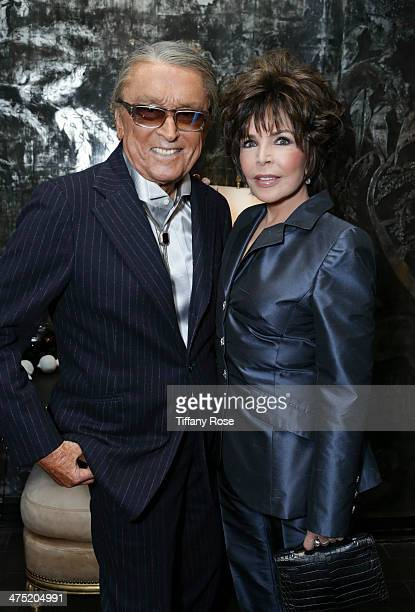Producer Robert Evans and recording artist Carole Bayer Sager attend VIOLET GREY Honors Elizabeth Taylor At She's So Violet Salon Dinner on February...