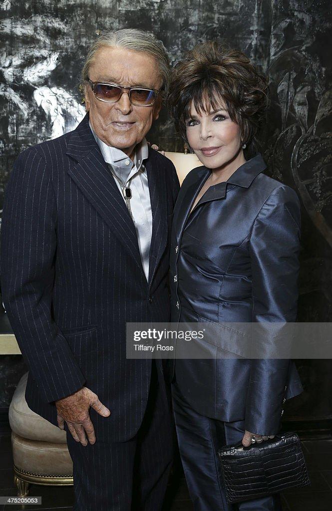 Producer Robert Evans and recording artist Carole Bayer Sager attend VIOLET GREY Honors Elizabeth Taylor At She's So Violet Salon Dinner on February...