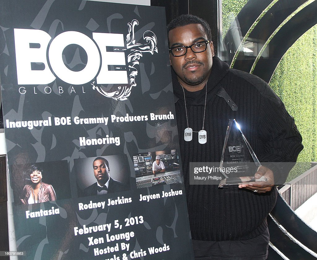 Producer <a gi-track='captionPersonalityLinkClicked' href=/galleries/search?phrase=Rodney+Jerkins&family=editorial&specificpeople=802385 ng-click='$event.stopPropagation()'>Rodney Jerkins</a> receives the BOE producers award during the 1st Annual Grammy Producers Brunch honoring <a gi-track='captionPersonalityLinkClicked' href=/galleries/search?phrase=Rodney+Jerkins&family=editorial&specificpeople=802385 ng-click='$event.stopPropagation()'>Rodney Jerkins</a> at Xen Lounge on February 5, 2013 in Los Angeles, California.