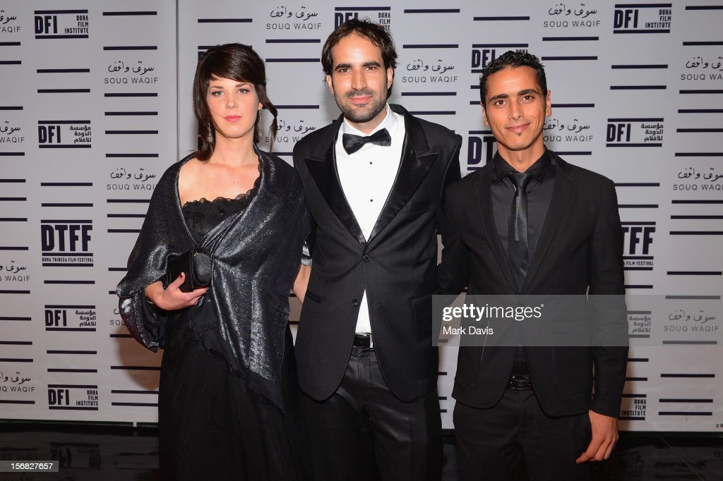 Producer Rosan Breman, filmmaker Alex Pitstra and actor Abdelhamid Naouara attends the Awards Ceremony at the Al Rayyan Theatre during the 2012 Doha Tribeca Film Festival on November 22, 2012 in Doha, Qatar.