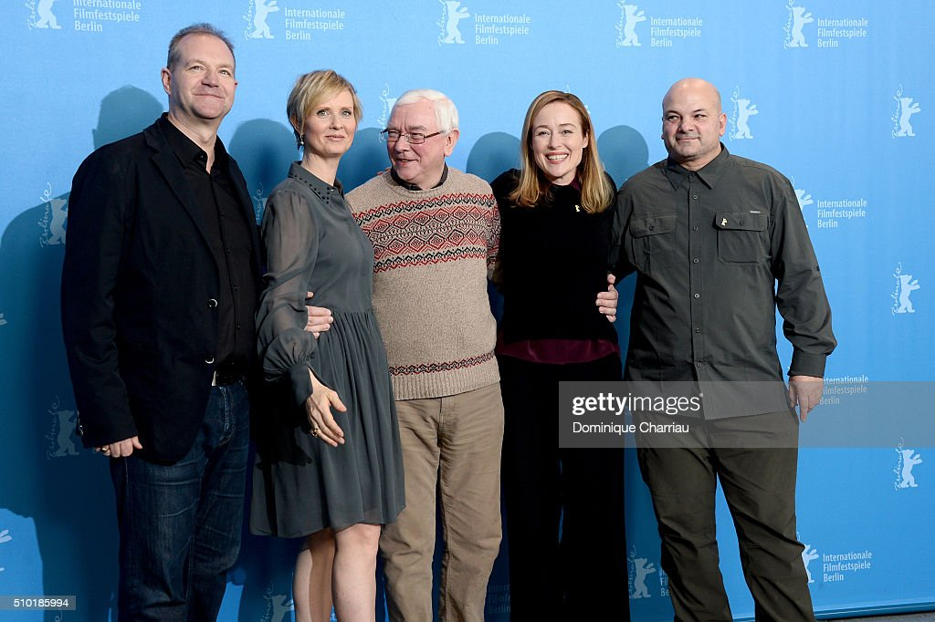 Producer Roy Boulter, actress Cynthia Nixon, director Terence Davies, actress Jennifer Ehle and producer Sol Papadopoulos attend the 'A Quiet Passion' photo call during the 66th Berlinale International Film Festival Berlin at Grand Hyatt Hotel on February 14, 2016 in Berlin, Germany.