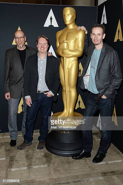 Producer Roy Conli and directors Don Hall and Chris Williams attend the 88th annual Academy Awards Oscar Week celebrates Animated Features at the...