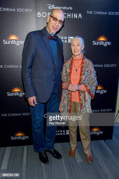 Producer Roy Conli and primatologist Dr Jane Goodall attend Disneynature with the Cinema Society host the premiere of 'Born in China' at Landmark...