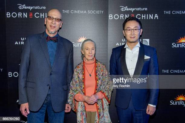 Producer Roy Conli Dr Jane Goodall and Director Lu Chuan attend Disneynature with the Cinema Society host the premiere of 'Born in China' at Landmark...