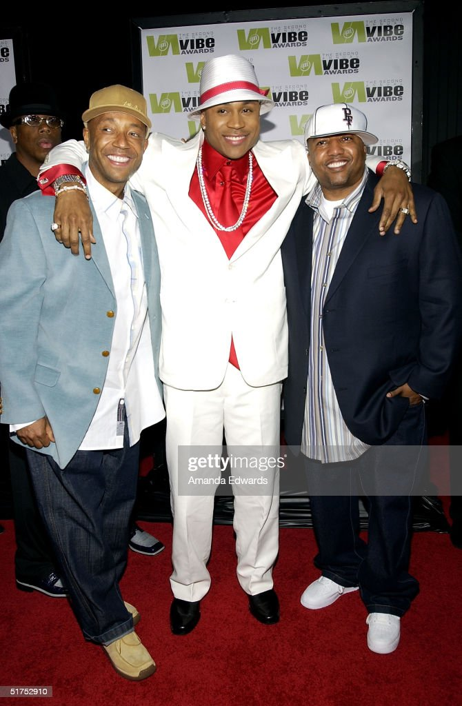Producer Russell Simmons, rapper LL Cool J and Kevin Lyles, Vice President Def Jam attends the 2004 Vibe Awards on UPN at Barker Hangar November 15, 2004 in Santa Monica, California.