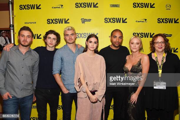 Producer Ryan Friedkin actors Timothee Chalamet Alex Roe Maie Mitchell director Elijah Bynum actress Maika Monroe and SXSW Film Festival Director...