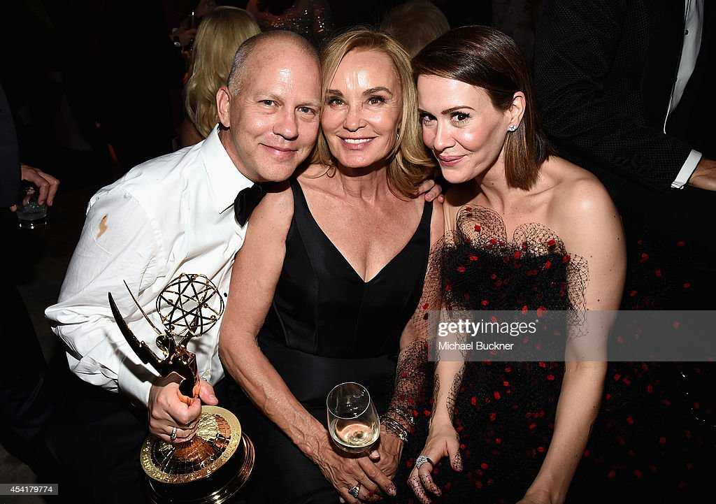 Producer Ryan Murphy, and actresses Jessica Lange, and Sarah Paulson attend the FOX, 20th Century FOX Television, FX Networks and National Geographic Channel's 2014 Emmy Award Nominee Celebration at Vibiana on August 25, 2014 in Los Angeles, California.