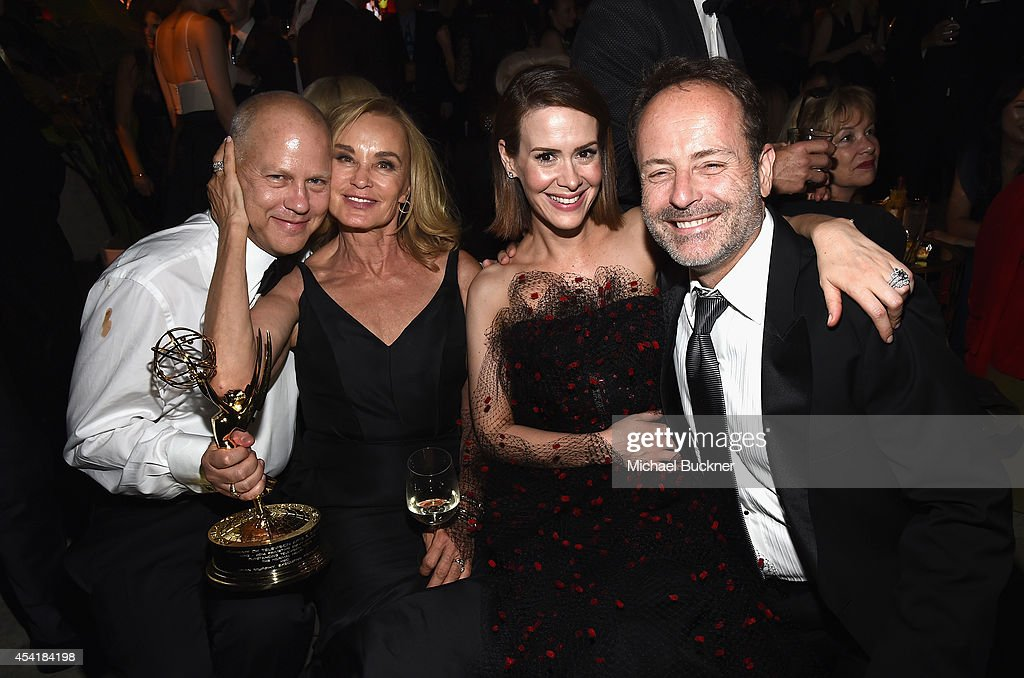 Producer Ryan Murphy, and actresses Jessica Lange and Sarah Paulson, and John Landgraf, CEO of FX Networks and FX Production attend the FOX, 20th Century FOX Television, FX Networks and National Geographic Channel's 2014 Emmy Award Nominee Celebration at Vibiana on August 25, 2014 in Los Angeles, California.