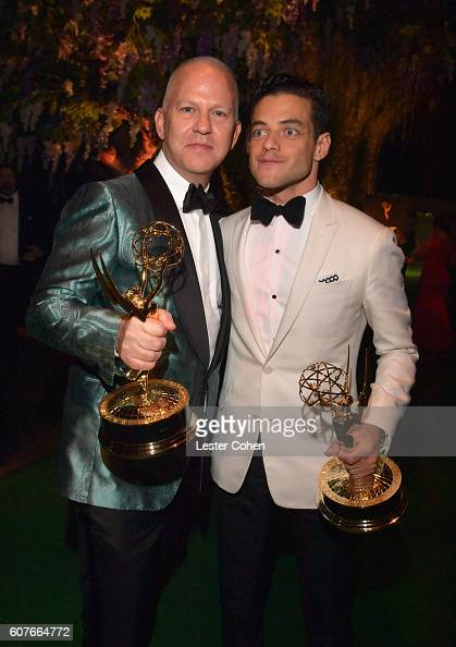 Producer Ryan Murphy winner of the Outstanding Limited Series award for 'The People vs OJ Simpson American Crime Story' and actor Rami Malek winner...
