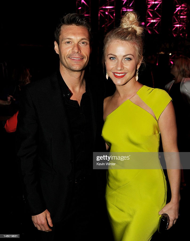 Producer Ryan Seacrest (L) and actress Julianne Hough arrive at the after party for the premiere of Warner Bros. Pictures' 'Rock Of Ages' at Hollywood and Highland on June 8, 2012 in Los Angeles, California.