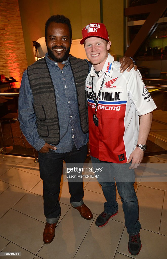 Producer <a gi-track='captionPersonalityLinkClicked' href=/galleries/search?phrase=Sal+Masekela&family=editorial&specificpeople=572654 ng-click='$event.stopPropagation()'>Sal Masekela</a> and supercross champion Trey Canard attend the Trey Canard 'REvival 41' premiere held at UltraLuxe Cinemas at Anaheim GardenWalk on January 3, 2013 in Anaheim, California.