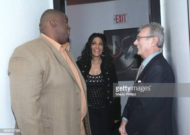 Producer Salaam Remi Sheila E and Al Schmitt attend The 55th Annual GRAMMY Awards Producers and Engineers Wing event honoring Quincy Jones And Al...