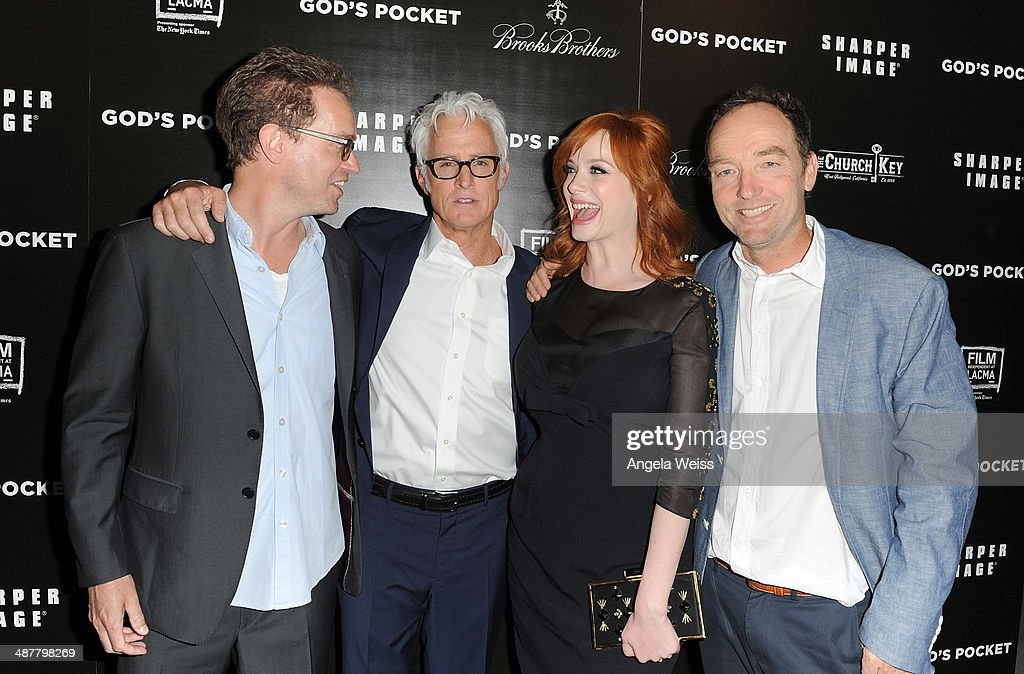 Producer Sam Bisbee, director <a gi-track='captionPersonalityLinkClicked' href=/galleries/search?phrase=John+Slattery&family=editorial&specificpeople=857095 ng-click='$event.stopPropagation()'>John Slattery</a>, actress <a gi-track='captionPersonalityLinkClicked' href=/galleries/search?phrase=Christina+Hendricks&family=editorial&specificpeople=2239736 ng-click='$event.stopPropagation()'>Christina Hendricks</a> and producer Lance Acord arrive at the premiere of IFC Films 'God's Pocket' at LACMA on May 1, 2014 in Los Angeles, California.