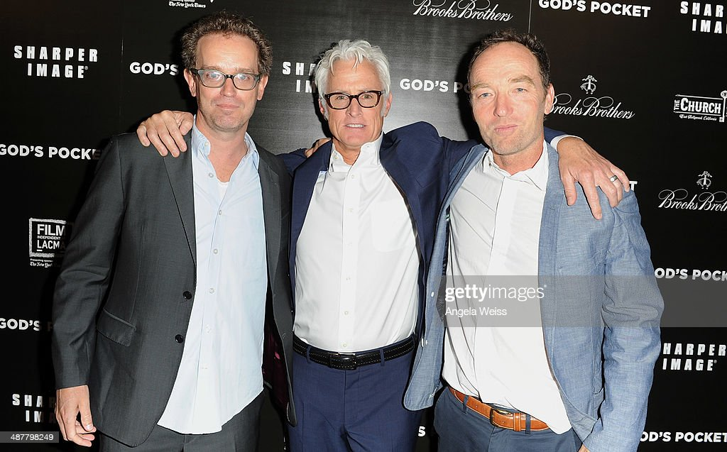 Producer Sam Bisbee, director <a gi-track='captionPersonalityLinkClicked' href=/galleries/search?phrase=John+Slattery&family=editorial&specificpeople=857095 ng-click='$event.stopPropagation()'>John Slattery</a> and producer Lance Acord arrive at the premiere of IFC Films 'God's Pocket' at LACMA on May 1, 2014 in Los Angeles, California.